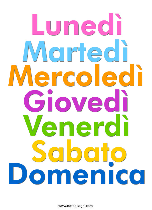 Il nome dei giorni nella settimana l 39 impronta l 39 aquila for Giorni della settimana per bambini da stampare